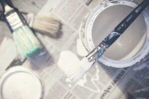 Peinture, Brosses, Seau, Blanc, Décoration D'Intérieur